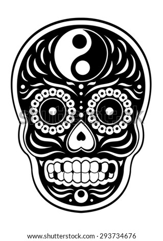 Sugar Skull Day Dead Yin Yang Stock Vector 293734676 ...