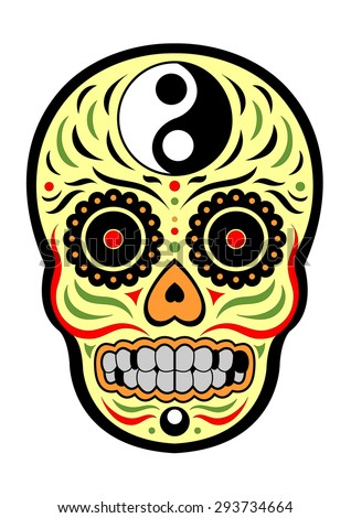 sugar skull day of the dead, yin and yang design, yellow color, colorful, vector - stock vector