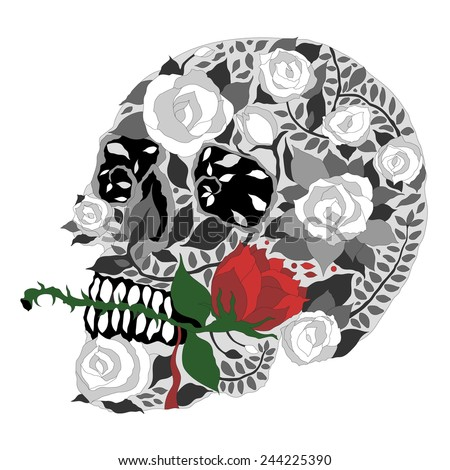 sugar skull rose valentine's day design vector illustration - stock vector