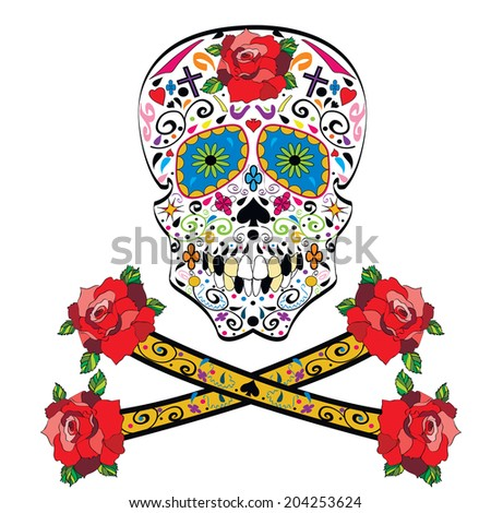 Sugar skull vector illustration on white background - stock vector