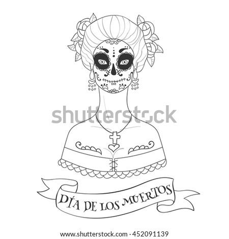 Sugar Skull Woman Day Dead Template Stock Photo (Photo, Vector ...