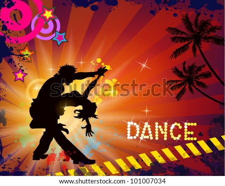 Suggestive musical themed latino dance flyer for night party or salsa exhibitions. - stock vector