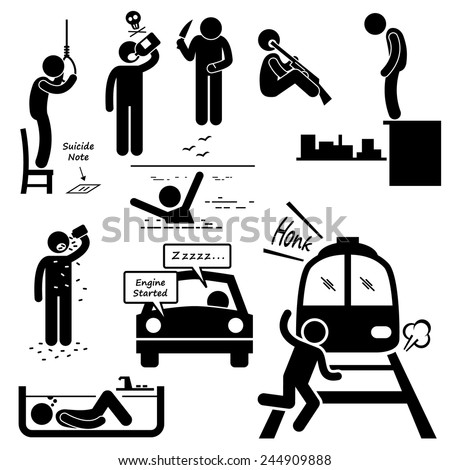Suicidal Commit Suicide Methods Stick Figure Pictogram Icons - stock vector