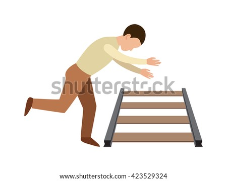 Suicidal commit suicide methods train death and train death stick igure cartoon concept. Train death railway transportation track. Train death journey people danger metal world travel accident. - stock vector