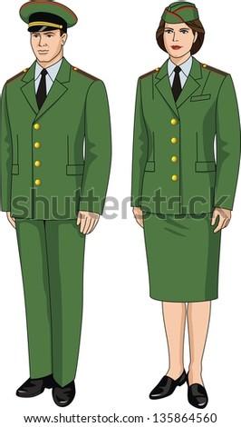 Suit special uniform for men and women - stock vector