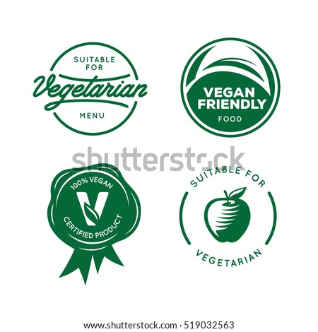 Suitable Vegetarian Vegan Related Labels Set Stock Vector 2018
