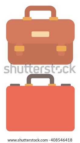 Suitcase and leather briefcase. - stock vector
