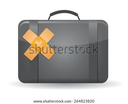 suitcase band aid fix solution concept illustration design over white background - stock vector