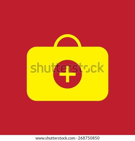 suitcase doctor icon. Flat design style - stock vector