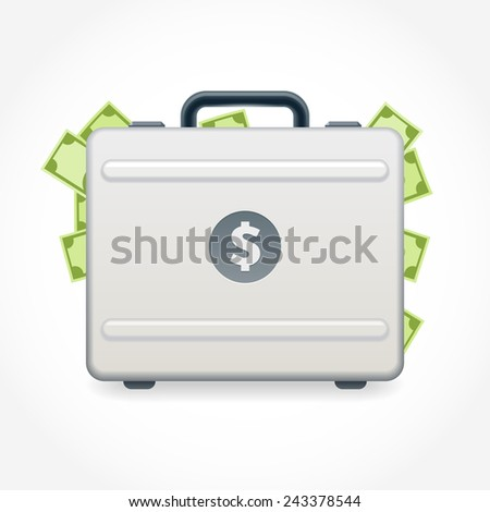 Suitcase full of money isolated on white background - stock vector