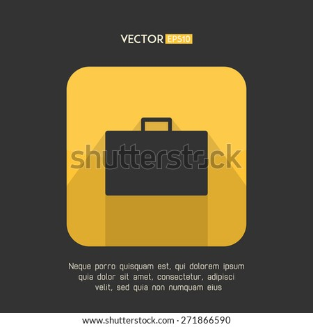 Suitcase icon in modern flat design. Yellow and gray baggage symbol with long shadow. Business case emblem. Vector illustration. - stock vector