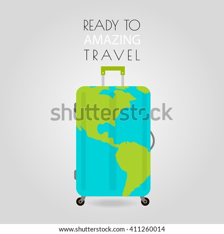 Suitcase icon. Travel concept. Suitcase with Earth on surface. Suitcase icon best. Suitcase icon image. Vector Illustration - stock vector