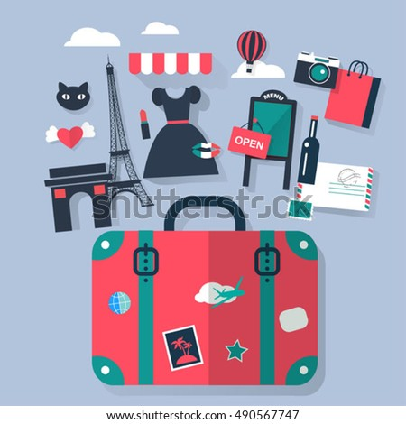 Suitcase in Paris tourism concept image.Vacation flat vector icons
