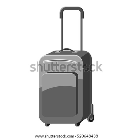 Suitcase on wheels icon. Gray monochrome illustration of suitcase on wheels vector icon for web