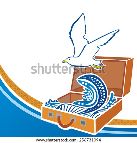 Suitcase sea aves seagull travel vector illustration - stock vector