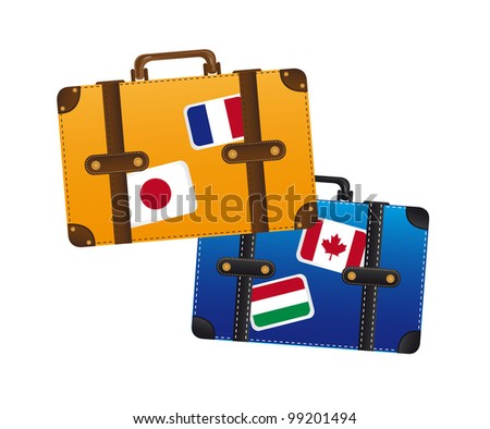 suitcase with flags isolated over white background. vector - stock vector