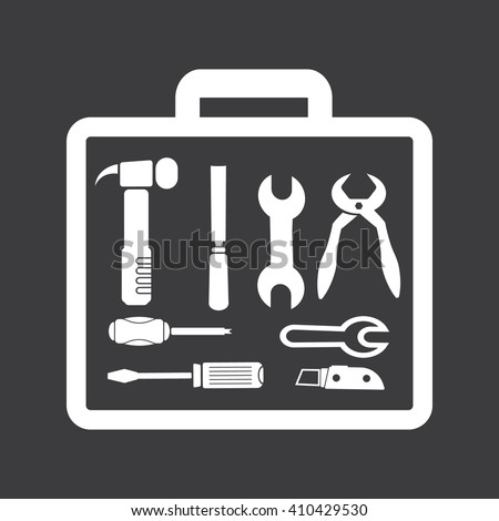 suitcase with tools icon - stock vector