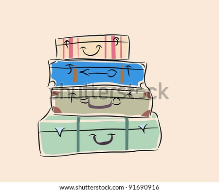 suitcases - stock vector