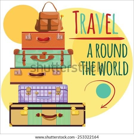 suitcases and a backpack, travel, trip - stock vector