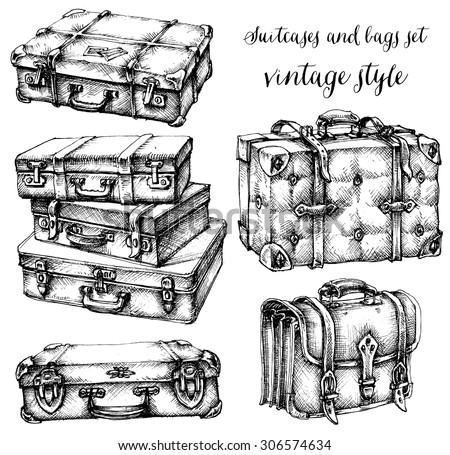 Suitcases and bags icon set, hand drawn in vintage style - stock vector