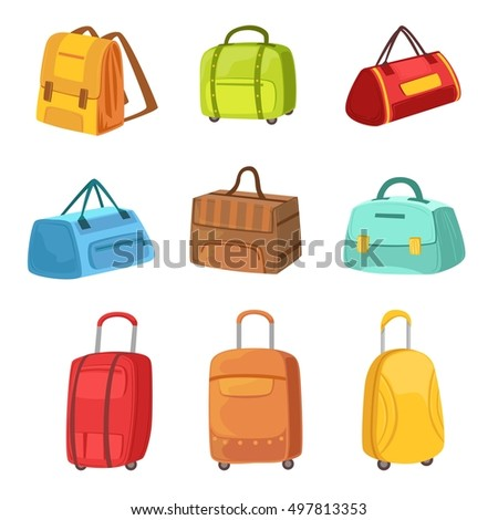 Suitcases And Other Baggage Bags Set Of Icons