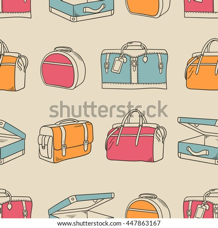 Suitcases hand drawn seamless pattern. Colorful collection of bags. Sketch objects vector. Doodle illustration background