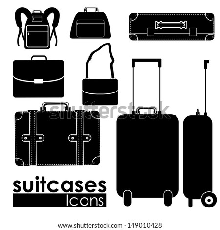 suitcases icons suitcases icons over white background vector illustration - stock vector