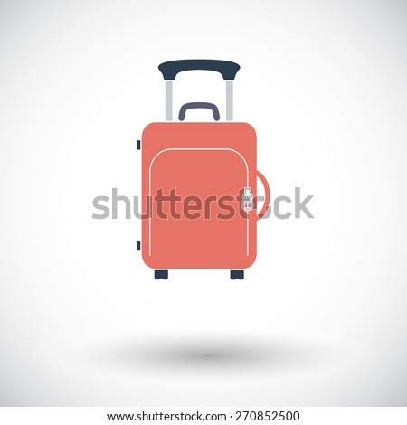 Suitecase. Single flat icon on white background. Vector illustration. - stock vector