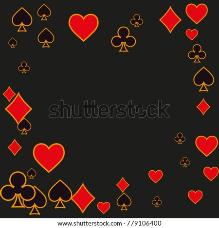Suits Playing cards border. Vector illustration for print, textile, paper