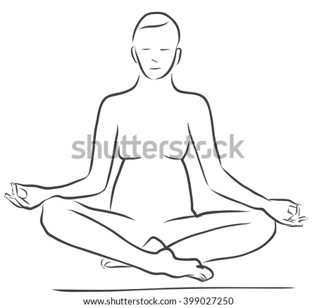 Sukhasana Easy Pose Yoga Figure Clean Outline Hand Drawn Vector Sketch