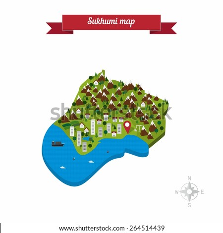 Sukhumi Abkhazia Map Flat Style Design Stock Photo Photo Vector
