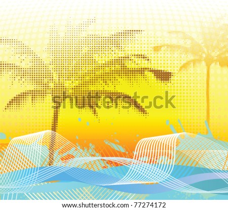 Sumer halftone palm background. Vector illustration. - stock vector