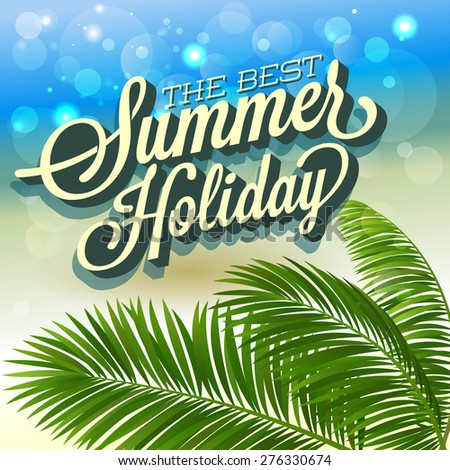 Summer abstract background with palm leaves. Vector illustration. - stock vector