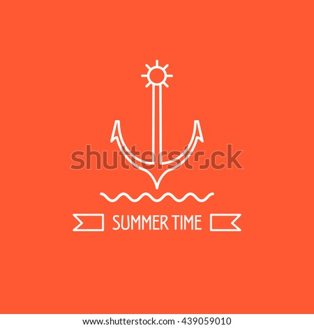 Summer. Anchor. The emblem of sea travel. Ribbon with the inscription summer. - stock vector