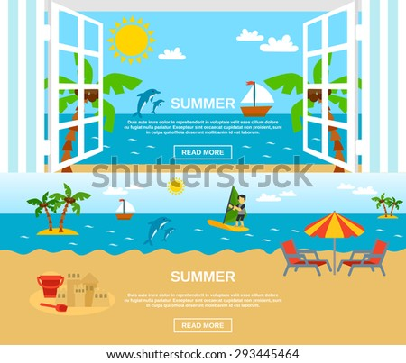 Summer and beach horizontal banners set with sea window surfing and palms flat isolated vector illustration  - stock vector