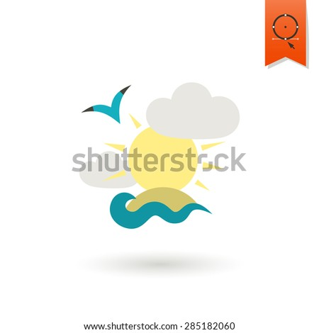 Summer and Beach Simple Flat Icon, Travel and Vacation. Vector - stock vector