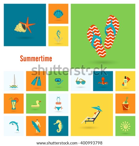 Summer and Beach Simple Flat Icons, Travel and Vacation. Vector - stock vector