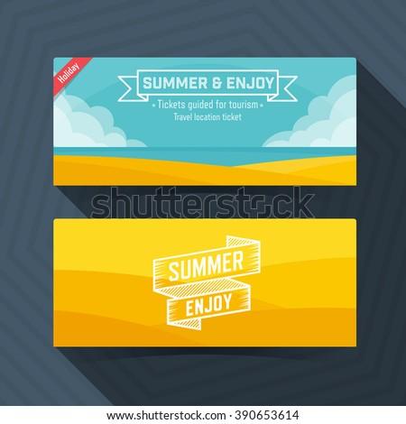 Summer and Enjoy template, Ticket card design element. - stock vector