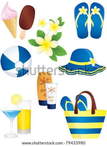 Summer and holiday icon set, vector - stock vector
