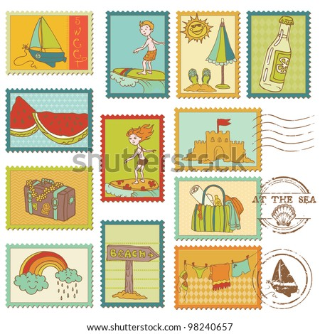 Summer and Sea elements - Vector stamp collection