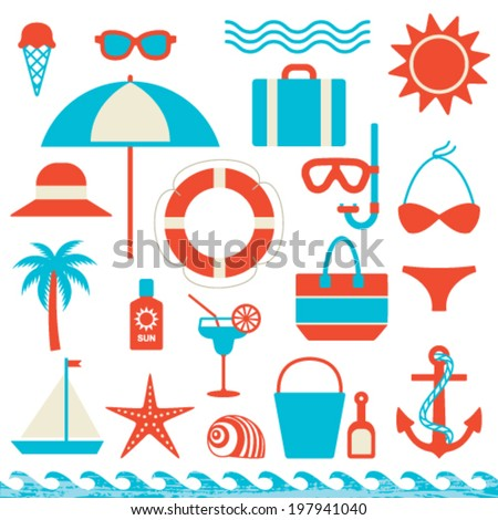 Summer and sea related icons vector set - stock vector