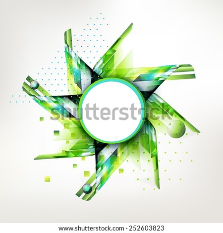 Summer and spring time geometric style background with circle sticker. Abstract linear decorative element for text. Season design banner.