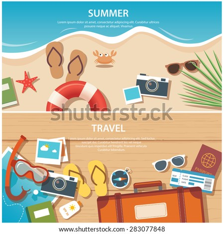 summer and travel flat banner template - stock vector
