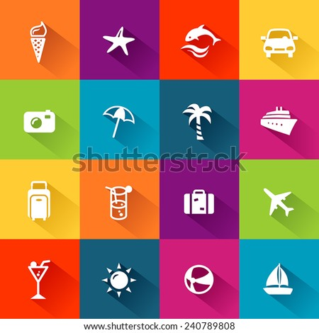 Summer and travel icons in modern, flat design style. - stock vector