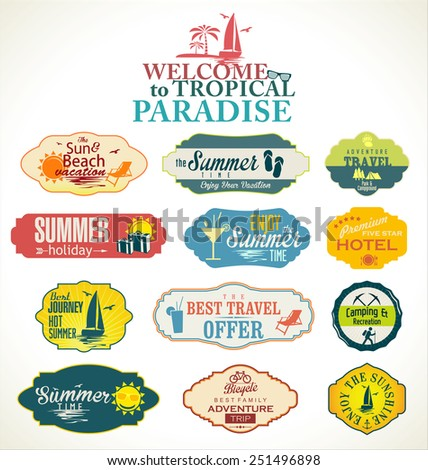 Summer and travel labels - stock vector