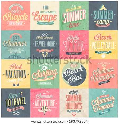 Summer and Travel set - labels and emblems. - stock vector