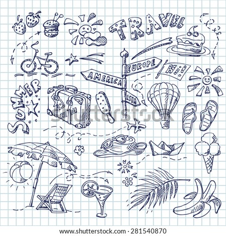 Summer and travel symbols on a square paper seamless background. Hand drawn doodle set.