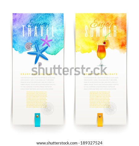 Summer and travel watercolor banners - vector illustration - stock vector