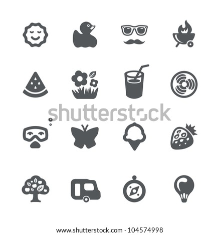 Summer and vacation minimalistic simple icons