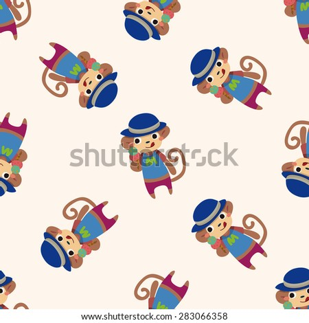 summer animal monkey icon 10,seamless pattern - stock vector